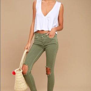 Free People Green High Rise Busted Skinny Jean